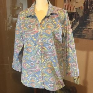 Izod pastel Paisley button up 3/4 sleeve shirt